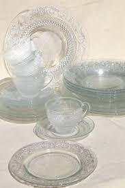 clear dinnerware set sandwich pattern pressed glass dishes crystal clear dinnerware set for 4 clear blue clear dinnerware set glass