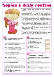 sophies daily routine english routine english and  sophies daily routine english routine english and worksheets
