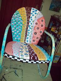 painted metal patio furniture. Custom Made Metal Handpainted Multi-Colored Yard/Patio Chair Painted Metal Patio Furniture