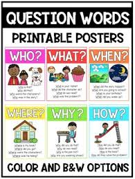 Question Words Printable Poster Anchor Chart