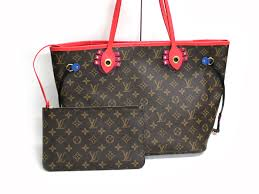 louis vuitton neverfull mm monogram. louis vuitton neverfull mm monogram ethnic totem flamingo tote bag purse brown / red mm