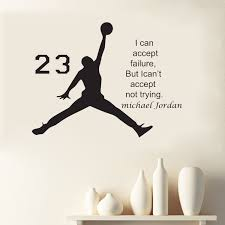 michael jordan basketball inspirational vinyl wall stickers quote for kids room decor boys diy art mural removable decals in wall stickers from home  on motivational quotes for athletes wall art with michael jordan basketball inspirational vinyl wall stickers quote