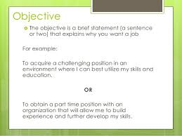 Objective Job Application Job Applications
