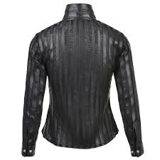 leather shirt black alina