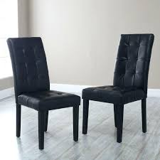 bonded leather parsons dining chair set of 2 black chairs