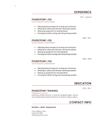 Phlebotomist Resume Cool Download 60 Professional Phlebotomy Resumes Templates Free