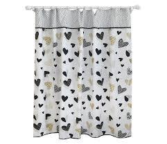 pillowfort black gold heart pattern shower curtain