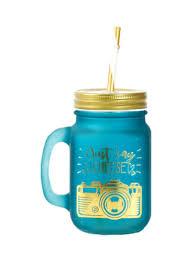 Shop HOMEBOX Bellissimo Mason Jar Blue/Gold/White 450ml online in Dubai,  Abu Dhabi and all UAE