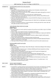 Senior Operations Manager Resume Samples Velvet Jobs