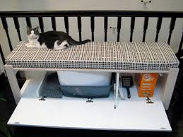 best hiding cat litter boxes using a bench with concealed litter box