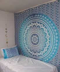 blue multi indian ombre mandala wall tapestry hippie bedding royalfurnish com
