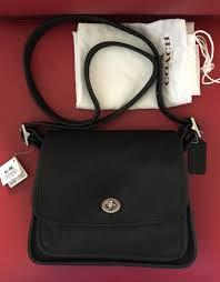 Coach Ramblers Legacy Black Leather Crossbody Flap Saddle Bag Wallet 9061