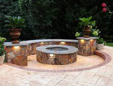 concrete patio with fire pit. Exellent With Fire Pit Seat Wall Stamped Concrete Outdoor Pits Salzano Custom  Aldie To Patio With Pit E