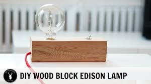 wood block edison table lamp diy montreal