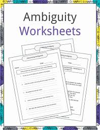 Ambiguity Examples Definition And Worksheets Kidskonnect