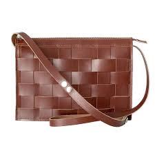 eduards näver small leather shoulder bag in brick
