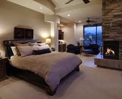 southwestern contemporary bedroom ideas with stone corner styled electric fireplace using black chaise lounge chair