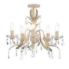 5 light leaf chandelier decorative flush ceiling light cream clearance litecraft