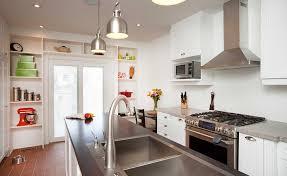 white kitchen pendant lighting. Contemporary White Kitchen With Stainless Steel And Pendant Lights Lighting E