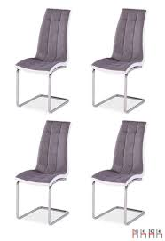 4er Set Esszimmerstuhl Stuhl Küchenstuhl Strukturstoff Kunstleder Grau Weiß
