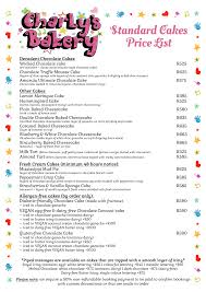 Cake Size And Price Chart Standard Price Lists Charlys Bakery