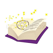 magic book of spells open with stars cartoon icon on a white background stock vector colourbox