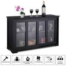 costway storage cabinet sideboard buffet cupboard glass sliding door pantry kitchen com