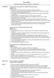 Health Safety Environment Manager Resume Samples Velvet Jobs