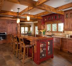 stunning rustic kitchen decoration with bar wood kitchen island with wood seating wood kitchen island and visible beam wood ceiling