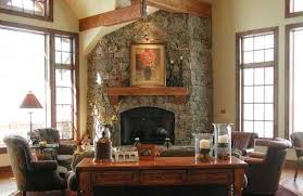 amazing corner fireplace design idea rock solid with tv above stone modern picture shelf built in mantel