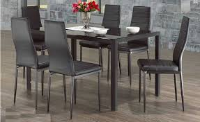 modern glass dining table. Brilliant Dining CONTRA  7PCS MODERN GLASS DINING TABLE SET WITH FAUX LEATHER CHAIRS Throughout Modern Glass Dining Table
