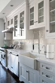 Love White Kitchen Cabinets Glass Doors Dark Wood Floors