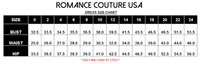 Romance Couture Size Chart Prom Dresses