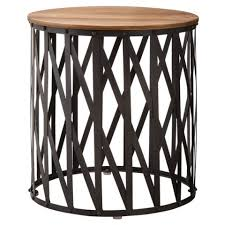 metal accent table. Threshold Round Metal Lattice Accent Table With Wood Top Keep H