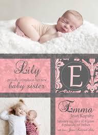 Sibling Birth Announcement Monogrammed Birth Announcement Birth Announcements Pinterest