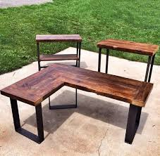 reclaimed wood l shaped desk in rockville md usa if only i knew how to make something like this since they dont ship more shaped wood desks home