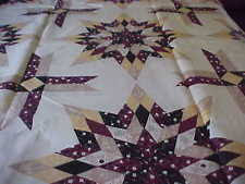 Cheater Quilt Fabric | eBay & KING SIZE LONE STAR BROWN CHEATER QUILT TOP PANEL 90X108 Adamdwight.com