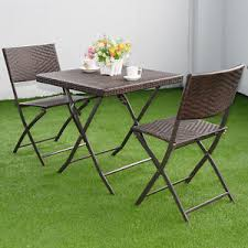 wicker folding chairs. Image Is Loading 3-PC-Brown-Outdoor-Folding-Table-Chair-Furniture- Wicker Folding Chairs