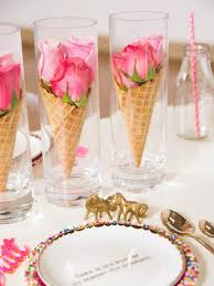 Whimsical Waffle Cone Flower Vase Table Decorations