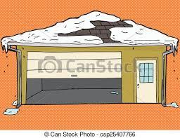 broken garage door with snow csp25407766