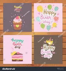birthday postcard template cute cartoon happy birthday postcard template stock vector royalty
