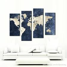 4 panel blue map canvas painting world with background picture print on wall art for home on wall art painting melbourne with 4 panel blue map canvas painting world with background picture print