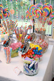 vintage candy theme birthday party table decorations. great for a sweet 16  party.