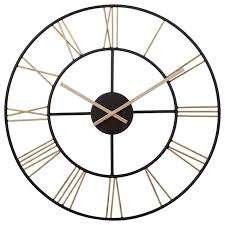 roman numeral wall clock black and gold metal cut out contemporary clocks by pinnacle frames extra