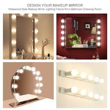 hollywood style led vanity mirror lights kit with 10 dimmable light bulbs lighting fixture strip for makeup vanity table set for dressing room mirror not