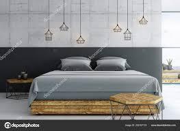 modern loft furniture. Modern Loft Bedroom Concrete Floor Wooden Furniture Ceiling Window \u2014 Stock Photo