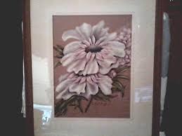 Beautiful Pair Of Original Floral Drawings Pastels On Buff