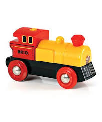 yellow battery powered engine from brio rail whoever said you can t build trains out of wood was being silly brio s work just fine these simple train