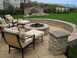 astounding patio furniture with firepit and paver patio ideas also stacked stone retaining walls
