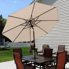 solar led patio umbrella sunnydaze decor 9 ft solar led lighted aluminum patio umbrella